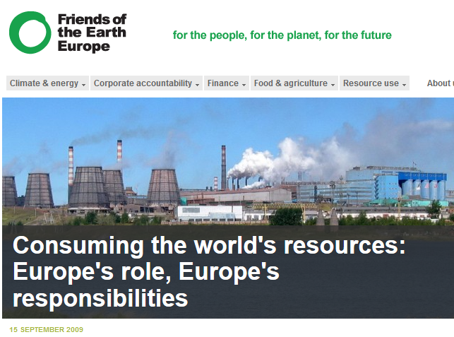 Report and Pressemitteilung von FoEE: Consuming the world's resources - Europe's roles, Europo's responsibilities