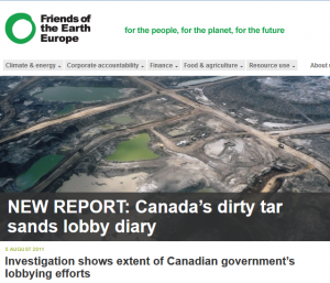 New report from FoEE: Canada's dirty tar sands lobby diary (http://www.foeeurope.org/press/2011/Aug04_Canada_dirty_tarsands_lobby_diary.html)