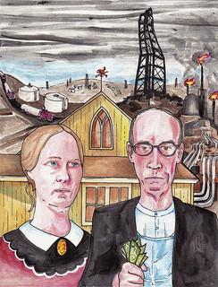 Das gezeichnete Bild zeigt ein amerikanisches Paar vor ihrer Farm. Das Land dahinter wird durch Gasförderung, Fracking, zerstört.