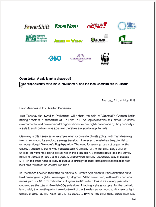 PR and Open Letter: German NGOs demand Swedish Parliament to stop the sale of Vattenfall's lignite assets in Germany