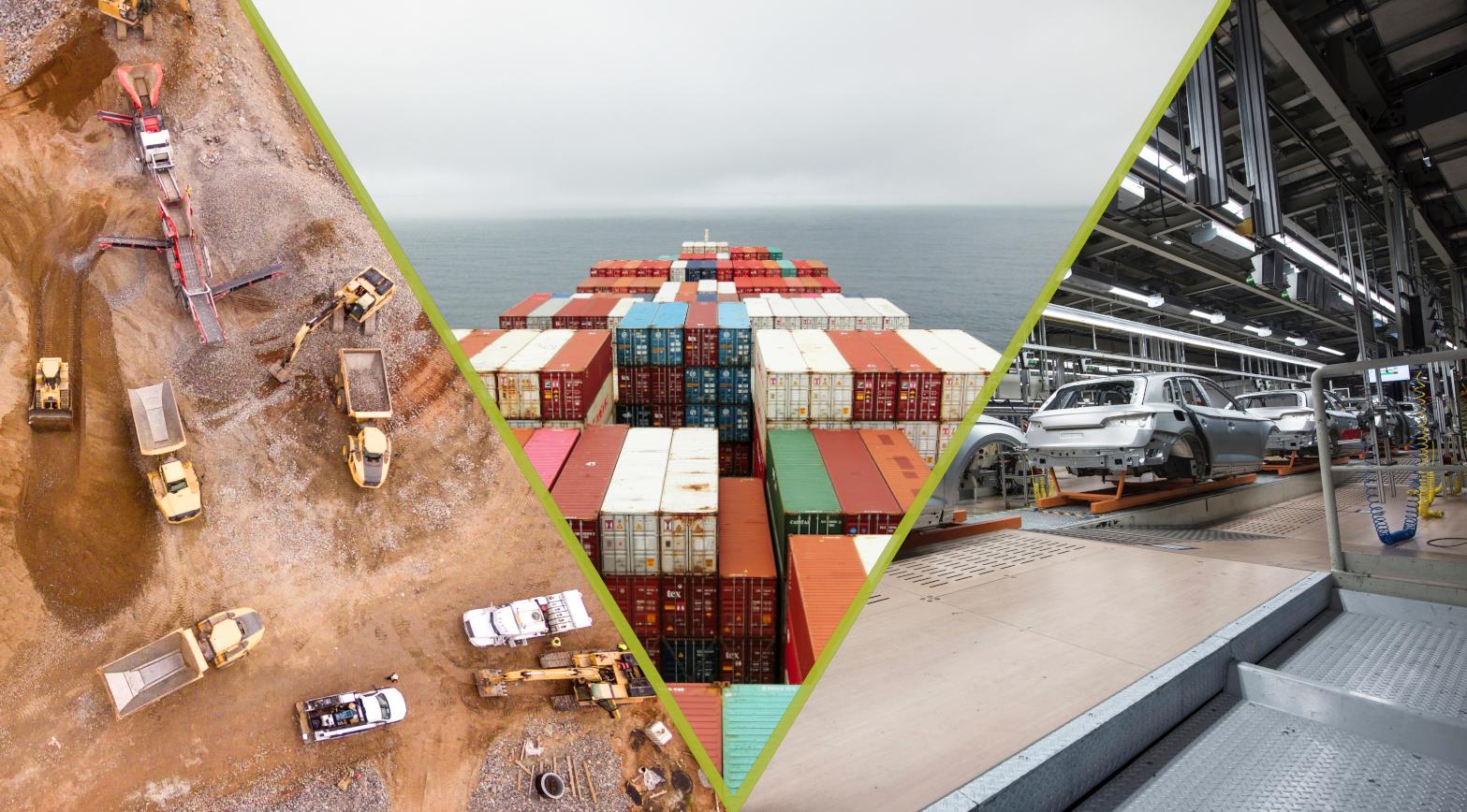 Drei Bilder zusammengeschnitten: Rohstoffabbau, Containerschiff und Autoproduktion