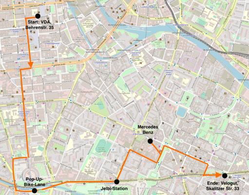 Die Karte zeigt den Verlauf der Fahrradtour.