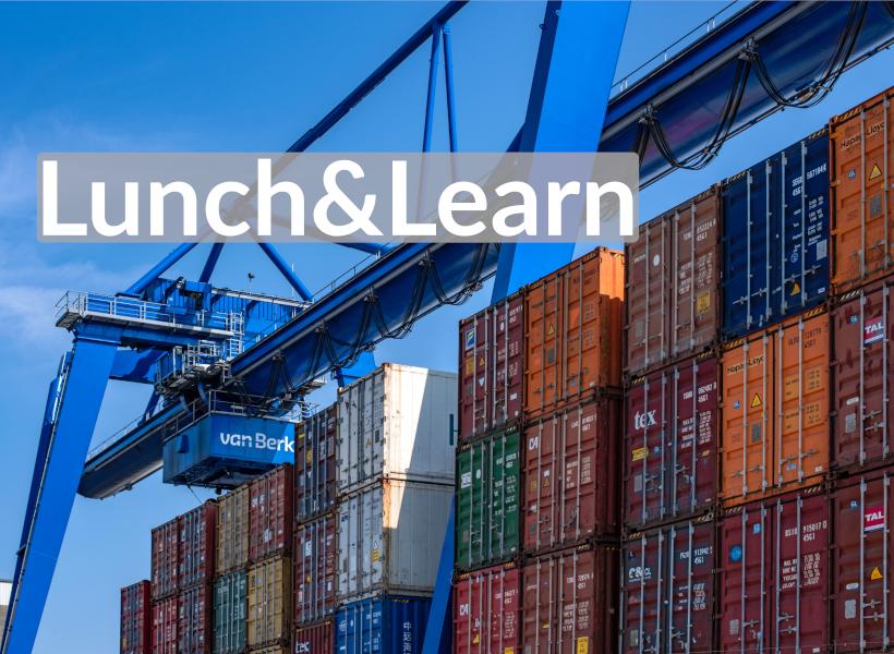Blauer Ladekran über bunten Containern, dadrüber der Schriftzug: Lunch and Learn