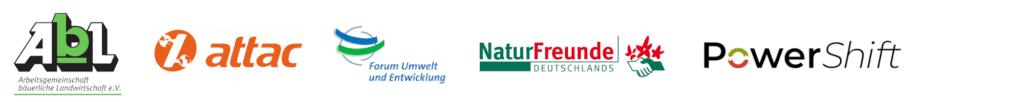 Logos der Organisationen Arbeitsgemeinschaft Bäuerliche Landwirtschaft, attact Deutschland, Forum Umwelt und Entwicklung, Naturfreunde Deutschlands und PowerShift