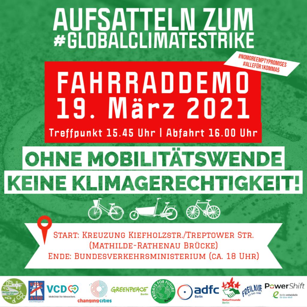 Breites Bündnis ruft zu Fahrraddemo am 19. März auf: Klimaschutz braucht die Verkehrswende jetzt!